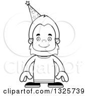 Lineart Clipart Of A Cartoon Blcak And White Happy Bigfoot Wizard Royalty Free Outline Vector Illustration