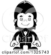 Lineart Clipart Of A Cartoon Black And White Happy Gorilla Groom Royalty Free Outline Vector Illustration
