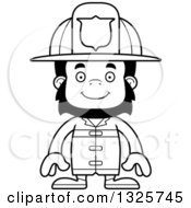 Lineart Clipart Of A Cartoon Black And White Happy Gorilla Firefighter Royalty Free Outline Vector Illustration