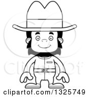 Lineart Clipart Of A Cartoon Black And White Happy Gorilla Cowboy Royalty Free Outline Vector Illustration