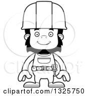 Cartoon Black And White Happy Gorilla Construction Worker