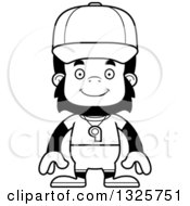 Lineart Clipart Of A Cartoon Black And White Happy Gorilla Sports Coach Royalty Free Outline Vector Illustration