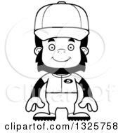 Poster, Art Print Of Cartoon Black And White Happy Gorilla Baseball Player