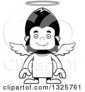 Lineart Clipart Of A Cartoon Black And White Happy Gorilla Angel Royalty Free Outline Vector Illustration