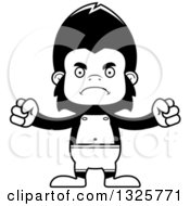 Lineart Clipart Of A Cartoon Black And White Mad Gorilla Swimmer Royalty Free Outline Vector Illustration
