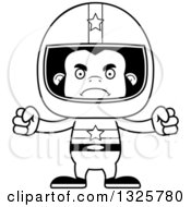 Lineart Clipart Of A Cartoon Black And White Mad Gorilla Race Car Driver Royalty Free Outline Vector Illustration