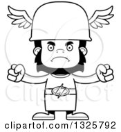 Lineart Clipart Of A Cartoon Black And White Mad Gorilla Hermes Royalty Free Outline Vector Illustration
