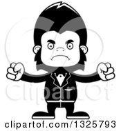 Lineart Clipart Of A Cartoon Black And White Mad Gorilla Groom Royalty Free Outline Vector Illustration