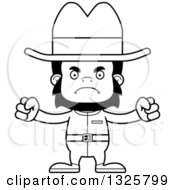 Lineart Clipart Of A Cartoon Black And White Mad Gorilla Cowboy Royalty Free Outline Vector Illustration