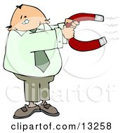Business Man Holding Onto A Strong Horse Shoe Shaped Magnet Clipart Illustration