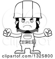 Cartoon Black And White Mad Gorilla Construction Worker