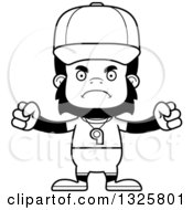 Lineart Clipart Of A Cartoon Black And White Mad Gorilla Sports Coach Royalty Free Outline Vector Illustration