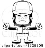 Poster, Art Print Of Cartoon Black And White Mad Gorilla Baseball Player