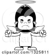 Lineart Clipart Of A Cartoon Black And White Mad Gorilla Angel Royalty Free Outline Vector Illustration