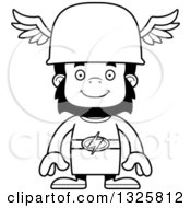 Lineart Clipart Of A Cartoon Black And White Happy Gorilla Hermes Royalty Free Outline Vector Illustration