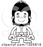 Lineart Clipart Of A Cartoon Black And White Happy Karate Gorilla Royalty Free Outline Vector Illustration