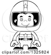Lineart Clipart Of A Cartoon Black And White Happy Gorilla Race Car Driver Royalty Free Outline Vector Illustration