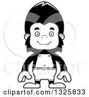 Lineart Clipart Of A Cartoon Black And White Happy Gorilla Swimmer Royalty Free Outline Vector Illustration