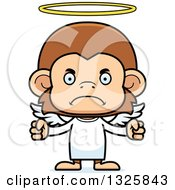 Clipart Of A Cartoon Mad Monkey Angel Royalty Free Vector Illustration
