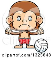 Clipart Of A Cartoon Mad Monkey Beach Volleyball Player Royalty Free Vector Illustration