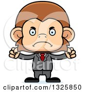 Clipart Of A Cartoon Mad Business Monkey Royalty Free Vector Illustration