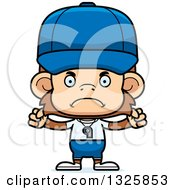 Clipart Of A Cartoon Mad Monkey Coach Royalty Free Vector Illustration