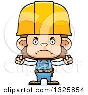 Cartoon Mad Monkey Construction Worker