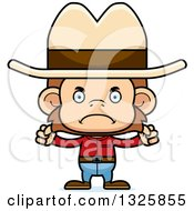 Clipart Of A Cartoon Mad Cowboy Monkey Royalty Free Vector Illustration