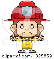 Clipart Of A Cartoon Mad Monkey Firefighter Royalty Free Vector Illustration