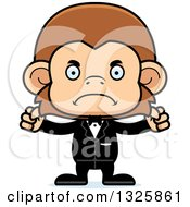 Clipart Of A Cartoon Mad Monkey Groom Royalty Free Vector Illustration