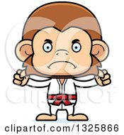 Clipart Of A Cartoon Mad Karate Monkey Royalty Free Vector Illustration