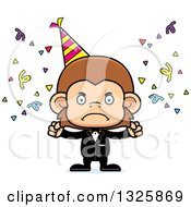 Clipart Of A Cartoon Mad Party Monkey Royalty Free Vector Illustration