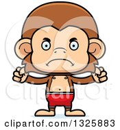Clipart Of A Cartoon Mad Monkey Swimmer Royalty Free Vector Illustration