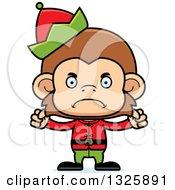 Clipart Of A Cartoon Mad Monkey Christmas Elf Royalty Free Vector Illustration