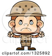 Clipart Of A Cartoon Mad Monkey Zookeeper Royalty Free Vector Illustration