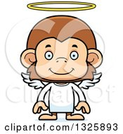 Clipart Of A Cartoon Happy Monkey Angel Royalty Free Vector Illustration