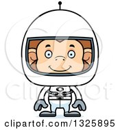 Clipart Of A Cartoon Happy Monkey Astronaut Royalty Free Vector Illustration