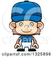 Poster, Art Print Of Cartoon Happy Monkey Baseball Player