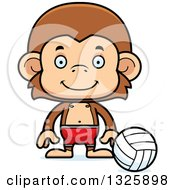 Clipart Of A Cartoon Happy Monkey Beach Volleyball Player Royalty Free Vector Illustration
