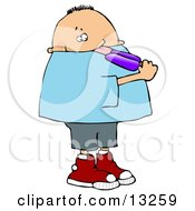 Chubby Boy Licking A Grape Popsicle Clipart Illustration by djart