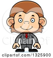 Clipart Of A Cartoon Happy Business Monkey Royalty Free Vector Illustration