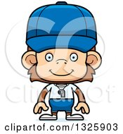 Clipart Of A Cartoon Happy Monkey Coach Royalty Free Vector Illustration