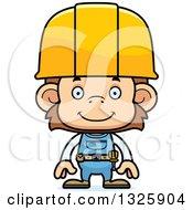 Cartoon Happy Monkey Construction Worker