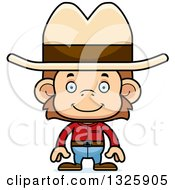Clipart Of A Cartoon Happy Cowboy Monkey Royalty Free Vector Illustration