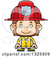 Clipart Of A Cartoon Happy Monkey Firefighter Royalty Free Vector Illustration