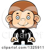 Clipart Of A Cartoon Happy Monkey Groom Royalty Free Vector Illustration