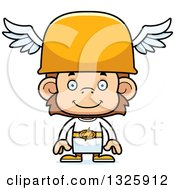 Clipart Of A Cartoon Happy Hermes Monkey Royalty Free Vector Illustration
