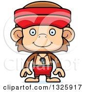 Clipart Of A Cartoon Happy Monkey Lifeguard Royalty Free Vector Illustration