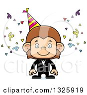 Clipart Of A Cartoon Happy Party Monkey Royalty Free Vector Illustration