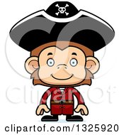 Clipart Of A Cartoon Happy Monkey Pirate Royalty Free Vector Illustration